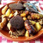Rojões de Porco com Batatas e Couve Portuguesa