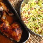 Coxas de Frango com Molho Barbecue e Couve Salteada
