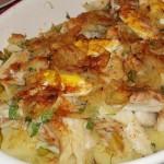 Bacalhau no Forno com Batata e Cebolada