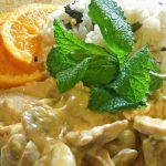Bifes de Peru com Natas, Cogumelos e Laranja