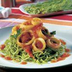 Lulas com Esparguete Verde
