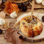 Pão Recheado com Queijo, Bacon e Cogumelos