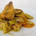 Filetes de Cavala com Escabeche de Legumes